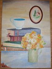VINTAGE TEA CUP BOOKS GARDEN FLOWERS PANSIES DAISIES STILL LIFE OIL ART PAINTING