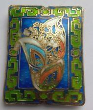 Rectangulaire CLOISONNE Focal Bead, style art déco, Bleu/Vert. Bijoux Making
