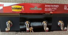 Command Decorative Key Rail 8w x 1 1/2d x 2 1/8h Black/Silver 4 Hooks/Pack