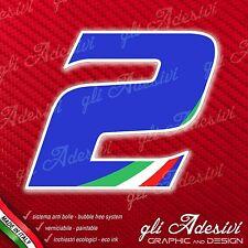 Adesivo Stickers NUMERO 2 moto auto cross gara Blu & Tricolore 5 cm