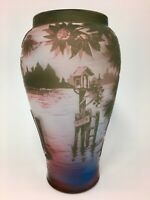 """French Cameo Glass Vase De Vez Boats & Water Scenes Awesome Colors 7"""" Tall"""