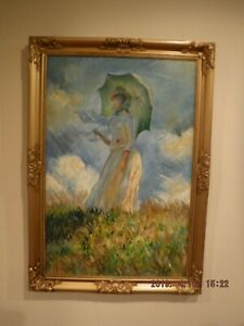 Woman with a Parasol Facing   -oil painting reproduction Monet framed- No.2