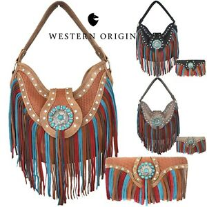 Fringe Western Cowgirl Handbag Concealed Carry Purse Women Shoulder Bag / Wallet