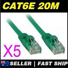 5x 20m Cat 6 Cat6  Green Premium Ethernet Network LAN Patch Cable Lead