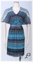 S.L. FASHIONS Blue Multi Sz 18 Women's Casual Blouson  Dress $99 New