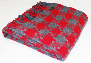 TWEEDMILL TEXTILES SOFA BED THROW BLANKET  100% PURE WOOL - JIGSAW CHARCOAL RED