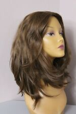 AHUVA WIGS NEW EUROPEAN HUMAN HAIR WIG MEDIUM BROWN WAVY SKIN TOP M CAP 14 IN