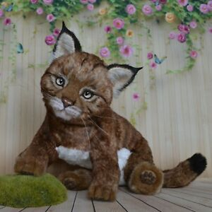 Cyrus Canadian lynx kitten teddy toy animals gift, Realistic 12 in OOAK