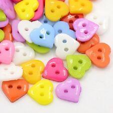LOT de 50 BOUTONS COEURS HEART 2 TROUS acrylique 10 x 10mm multicolores tricot