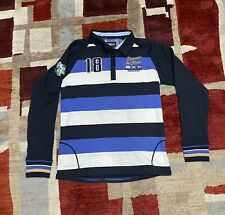 KEVINGSTON Rugby Polo Long sleeve Men's Shirt White/Navy Size Medium