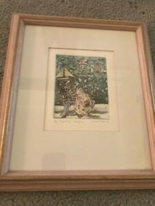 Alison Taylor ORIGINAL signed etching print hand coloured - nautical
