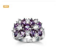 Beautiful quality White gold plated purple zircon ring/sz 8/#388