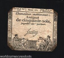 FRANCE 1/ 50 ASSIGNAT /SOLS 1790 UNIQUE PICTORIAL BILL CURRENCY FRENCH MONEYNOTE