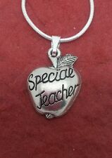 Teacher Necklace pewter Great Gift idea Apple charm pendant and chain