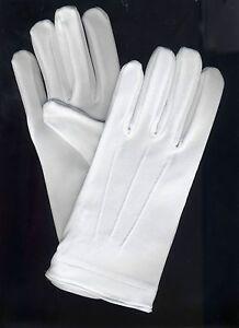 12 Pair White Tuxedo Gloves Parade Dress Uniform Guard Stretchable Band 1 Doz