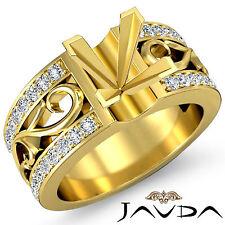 Natural Diamond Wedding Filigree Ring 14k Yellow Gold 0.55Ct Princess Semi Mount