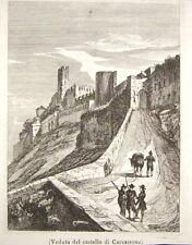 1860-FRANCIA-AUDE-VEDUTA DEL CASTELLO DICARCASSONE-INCISIONE ORIGINALE-