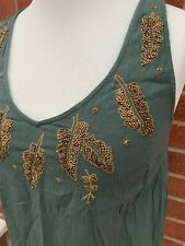 Next Khaki Beaded Green Vest Top Leaf Embroidered Crinkle Size 8 Gold