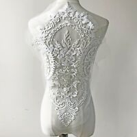 50*37 cm Embroidery Tulle Lace Applique Patch DIY Bridal Wedding Dress Skirt 1PC
