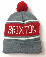 ce74d8e94591d New 28 BRIXTON POM BEANIE Gray Red Off-White Cuffed Winter Knit Ski
