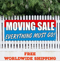 Banner Vinyl MOVING SALE EVERYTHING MUST GO Advertising Flag Sign Many Sizes