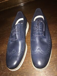 Cole Haan Mens 13M Original Grand Shortwing Oxfords Dress Shoes Blue Navy C30563