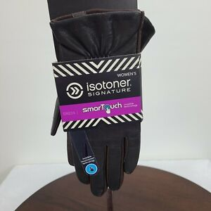 Isotoner Signature Womens M/L SmarTouch Gloves Brown Medium Large Lined