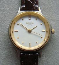 Boccia Titanium Watch Classic Gold Plating Bezel White Dial