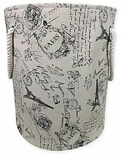 French Script Canvas Fabric Hamper Black Tan Durable Laundry Convenience Perfect