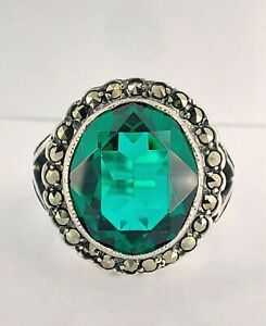 Vintage Chunky Sterling Silver Emerald Paste & Marcasite Cluster Ring UK L/M