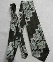 Vintage TOOTAL Tie Mens Necktie Retro Fashion OLIVE GREEN PSYCHEDELIC