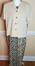 NWT Leslie Fay Jacket Dress and Scarf Dress Sleeveless Black/Brown/Creme Size16P