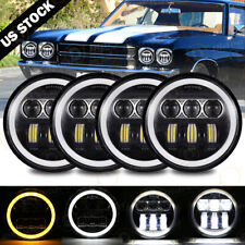 """4X 5.75"""" 5-3/4"""" Round LED Headlights  DRL Projector Beam for BMW Base 69-88"""