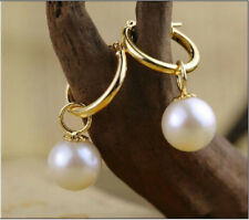 Pearl Dangle Gold Leverback Earring Perfect Round 9.5-10mm White South Sea