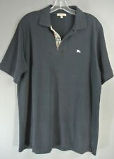 BURBERRY London Mans Collard Black T shirt L POLO shirt *1001