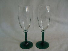 2 Champagne Flutes Clear Bowl Dark Green Faceted Stem & Base