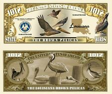 PELICAN BRUN - BILLET MILLION DOLLAR ! Oiseau LOUISIANE Etats US Birds of Animal