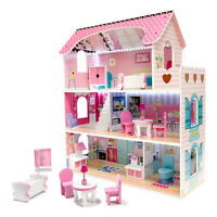 Puppenhaus Kinder Puppenstube A98 XXL Puppenvilla Holz Pink + Zubehör Stadtvilla