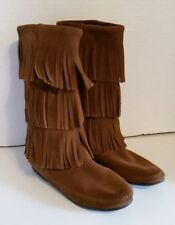 Minnetonka Moccasin Boots Brown Suede 3-Layer Fringe Boho Gypsy Pull On Womens 8