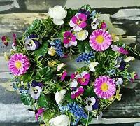 Blumenkranz 30 cm Kranz Tischkranz Türkranz Blütenkranz Vergissmeinnicht Rosa