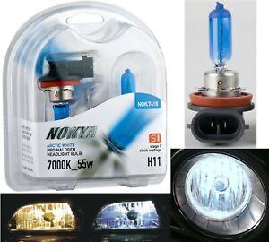 Nokya 7000K White H11 Nok7418 55W Two Bulbs Head Light Low Beam Replace Upgrade