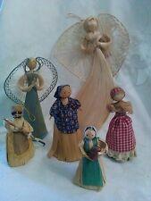 Six Vintage Lot Corn Husk Corn Silk Dolls Broom Rake Red Box Angel