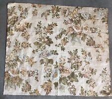 Antique Glazed Chintz Floral Fabric Piece Mid 1800's