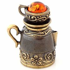 Thimble Brass & Honey Baltic Amber 2 in 1 Teapot Kettle with Cup Floral Ornament