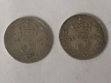 2 x .925 Silver Coins George V Three 3 Pence 1917 & 1919 Old Money Threepence UK