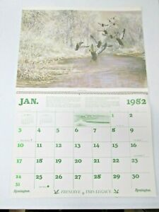 Vintage 1982 Remington Wildlife Calendar Ducks Unlimited Atlantic Mississippi