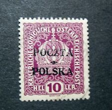 POLONIA, POLAND, POLSKA 1919 Austrian OVP 10 heller Used