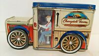 Vintage Tin Cherrydale Farms Truck Toy Bank with Turning Wheels-Used
