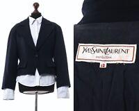 80s Vintage Women's YVES SAINT LAURENT Variation Blazer Coat Jacket Navy Blue
