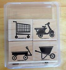 2006 Stampin Up THE WHEEL THING 4pc RUBBER INK STAMP SET wagon scooter shop cart